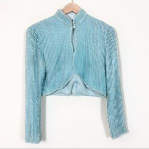 Vintage blue beaded cropped jacket Small